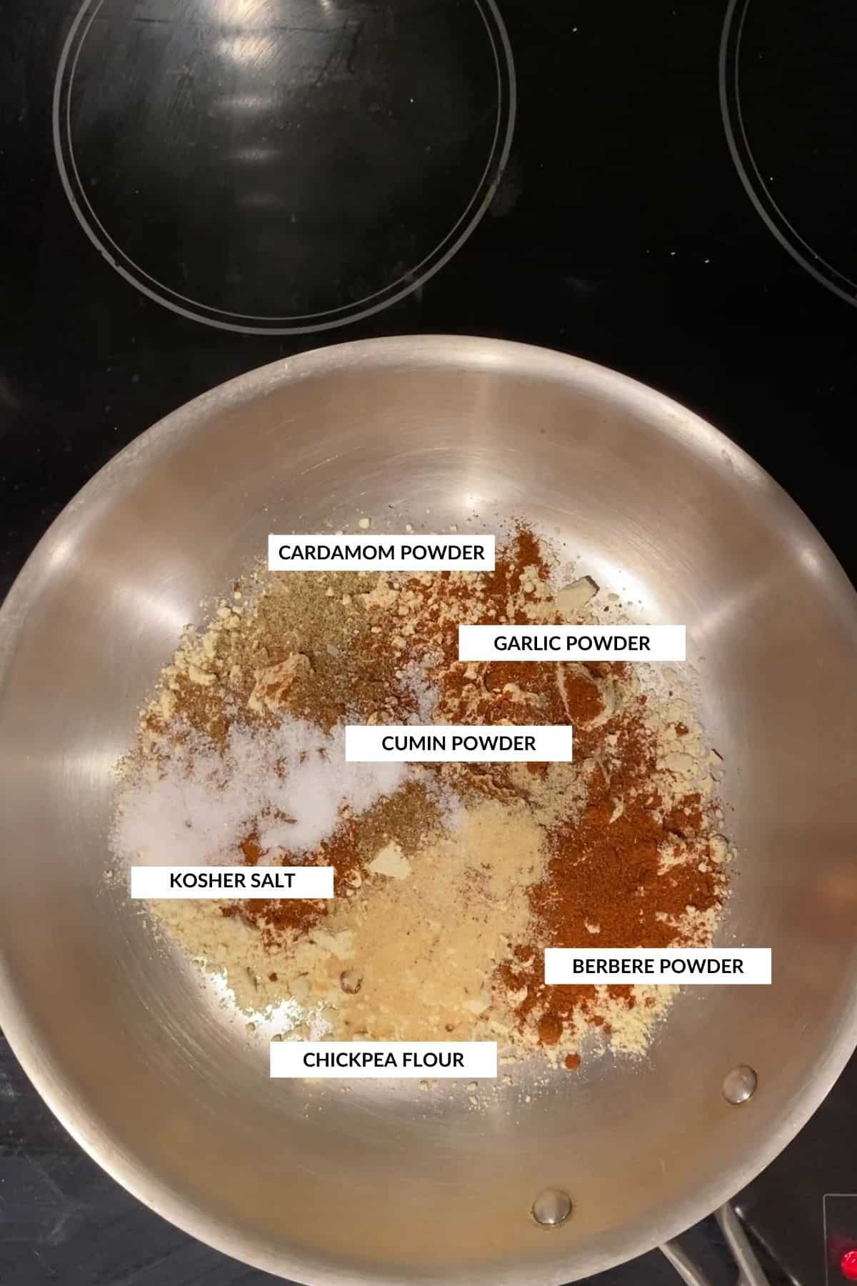 Labeled image showing how to make shiro powder (chickpea flour, berbere, cumin, cardamom, garlic powder, and salt)