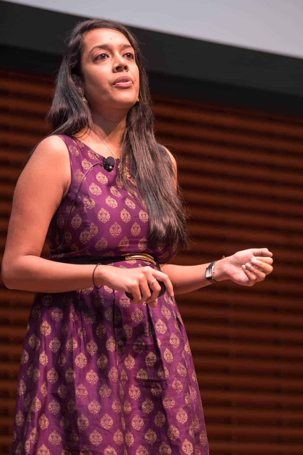 Shruthi giving a keynote at Stanford University