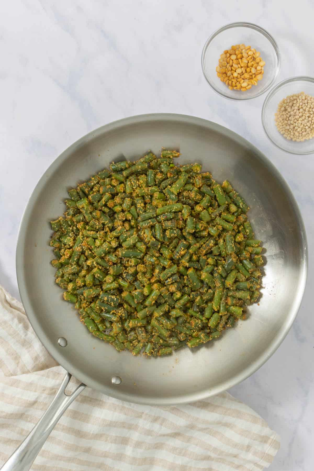Skillet green beans, finished product