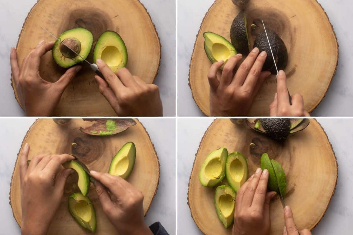 Four panel collage showing how to get neat avocado slices for fries