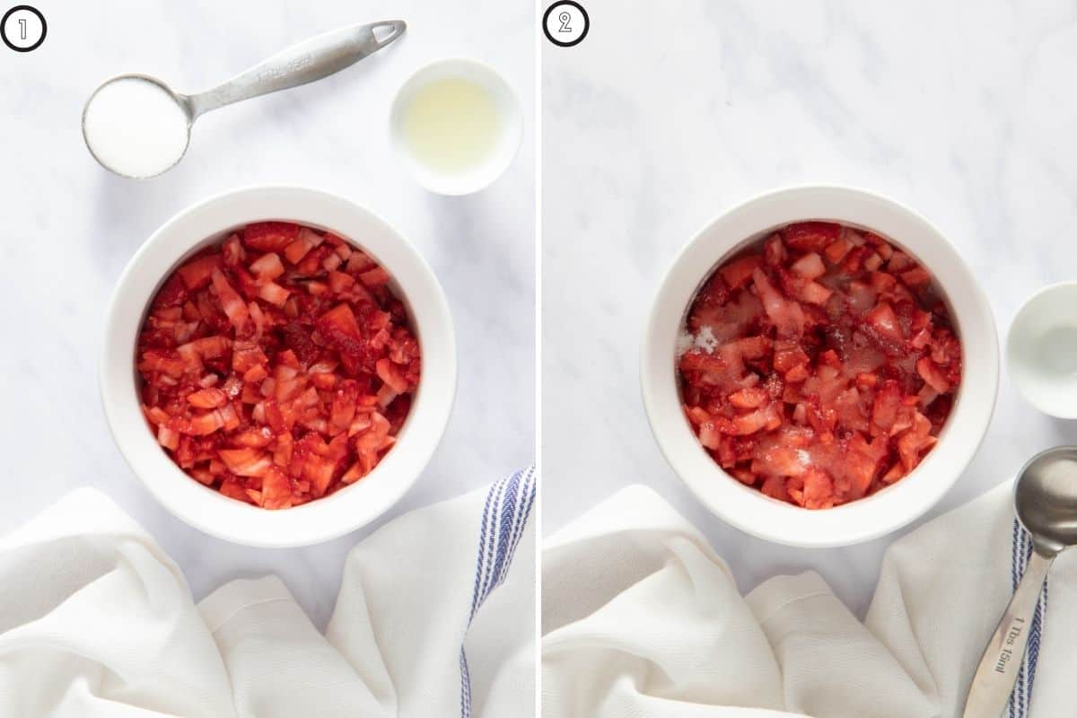 Two panel collage showing the strawberries soaked in lemon juice and sugar