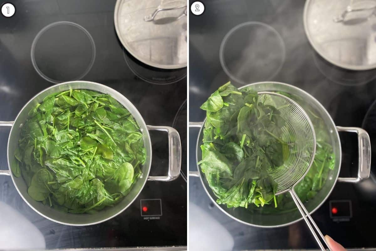 Two panel collage of blanching spinach