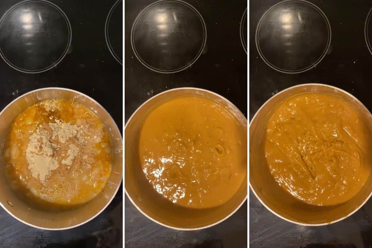 Three panel collage showing addition of chickpea flour and water to final thickness of sauce