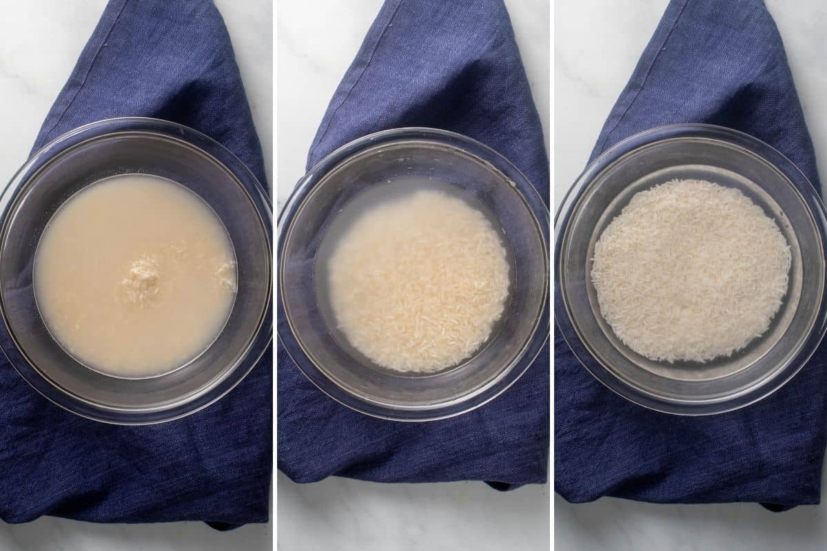 Stages of rice washing to show excess starch removed
