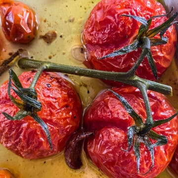 Close up of blistered tomatoes in tomato confit