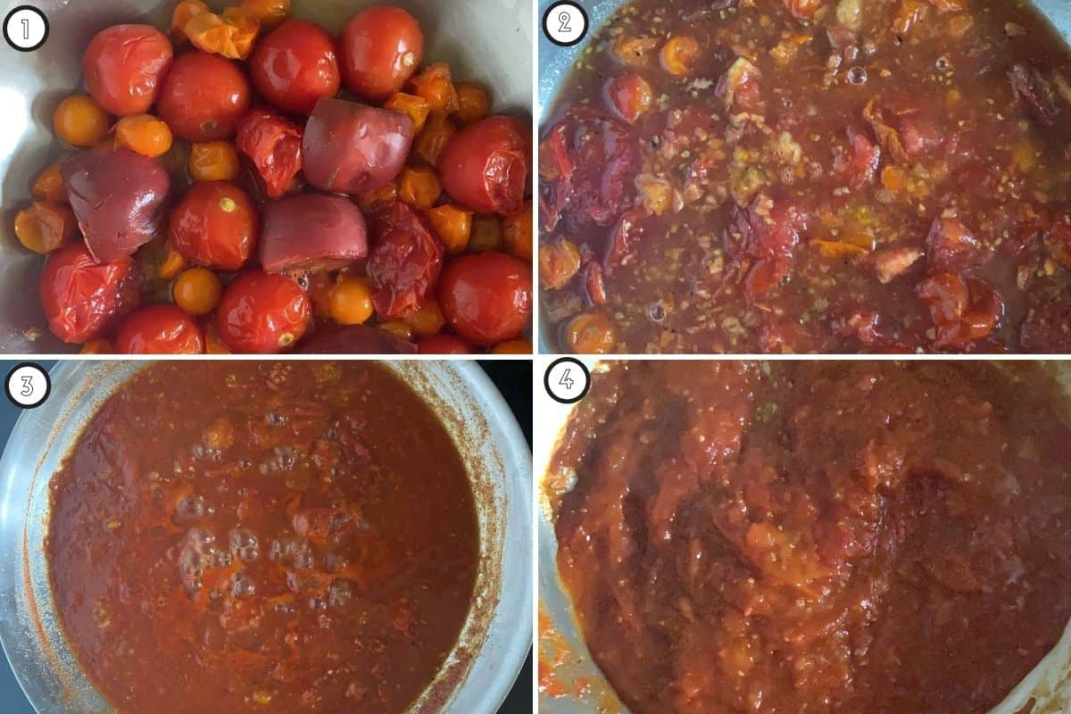 Four panel collage showing how to make the recipe on stovetop