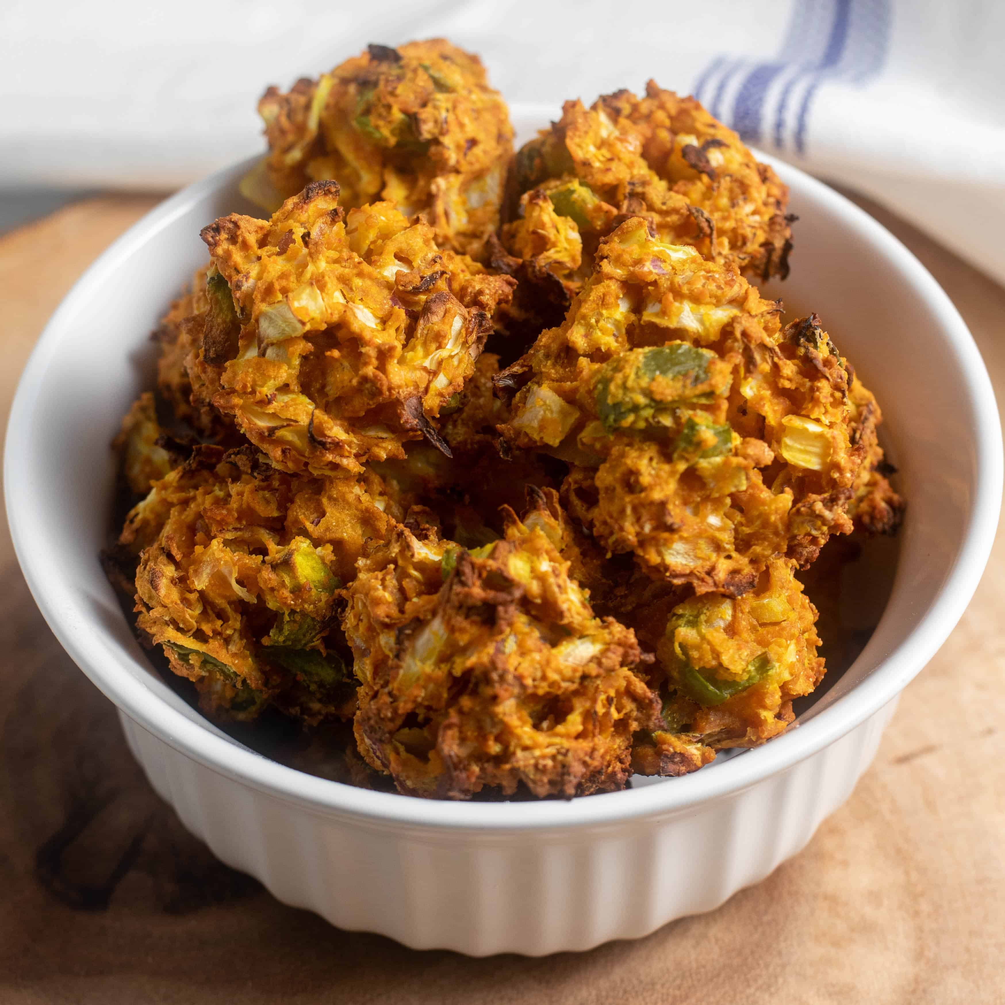 Delicious vegan fritters using chickpea flour as binding agent